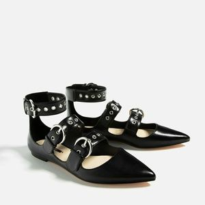 Zara Pointed Ankle Strap Moto Faux Leather Flats
